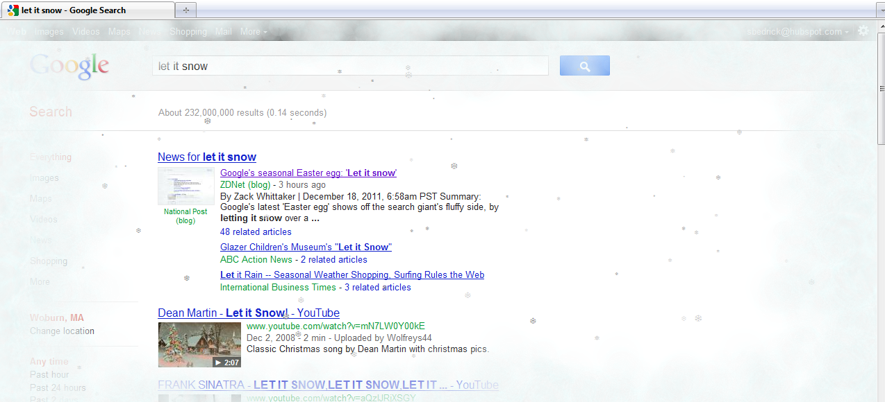 Let it Snow Google Easter Egg