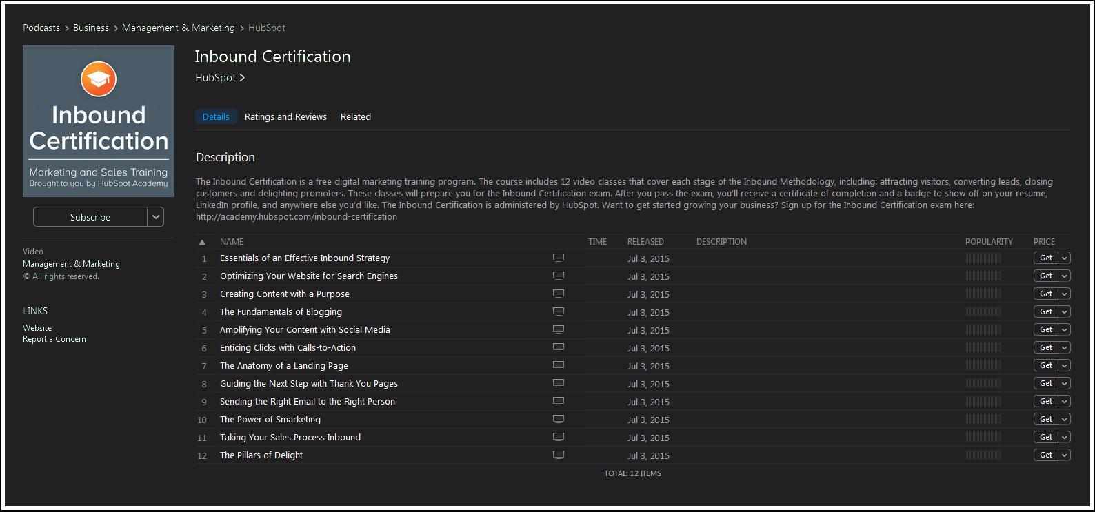 Inbound-Certification-iTunes